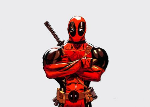 DEADPOOL - POSER LIGHT GREY canvas print - self adhesive poster - photo print